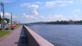 Hochschuldamm - Damm Bolshaya Neva in St Petersburg stock video