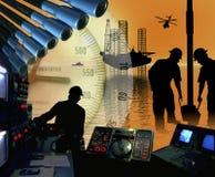 HOCHSEEBOHRUNGS-ANLAGEN-ÖLQUELLE-TECHNOLOGIE Lizenzfreie Stockfotografie
