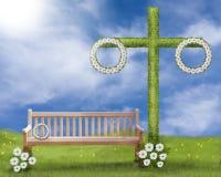 Hochsommerszene, Rasen mit Maibaum, eine Bank am Rasen und am Löwenzahn und daisys im Gras vektor abbildung