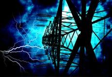 Hochspannungs-Stromleitungen Stockbilder