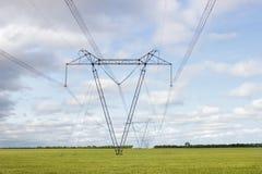 Hochspannungslinien und Energiemasten auf einem Gebiet lizenzfreies stockfoto