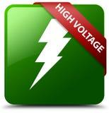 Hochspannungsstromikonengrün-Quadratknopf Lizenzfreies Stockbild