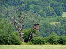 Hochstand in den Hügeln, geismar, Hessen stockfotografie