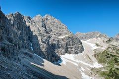 Hochvogel山在巴法力亚阿尔卑斯,德国 库存图片