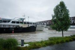 Hochwasser auf der Donau in Slowakei Stockbild