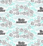 Hochwertige nahtlose Illustrationshandzeichnungen Starfish schälen Sonnendurchbruchbeschriftung nahtlosen Hintergrund erntend Stockbilder