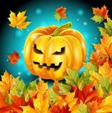 Hochwertiges Plakat für den Feiertag, Halloween, Herbstlaub, Kürbischarakter Auch im corel abgehobenen Betrag Lizenzfreie Stockfotos