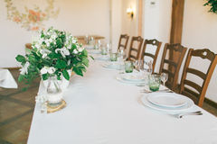 Hochzeit d coration Tabellenideen Stockfotografie