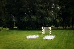 Hochzeit im Freien eines Parks Stockfotografie