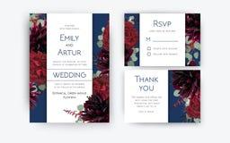 Hochzeit laden Einladung, rsvp ein, danke Kartenblumenfarbdes lizenzfreie abbildung