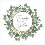 Hochzeit laden, Einladung, sparen das Datumskartenblumenmuster ein Kranzmonogramm mit den Eukalyptusgrünblättern des silbernen Do lizenzfreie abbildung