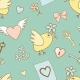 Hochzeit-Muster-auf-blau Lizenzfreies Stockbild