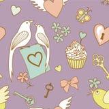 Hochzeit-Muster-auf-violett stock abbildung