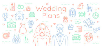 Hochzeit plant dünne Linie flachen Hintergrund Lizenzfreie Stockfotografie