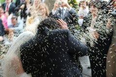Hochzeit, Reis über geheiratet Stockfoto