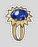 Hochzeit Ring Icon mit blauem Luxus-Diamond Patch vektor abbildung