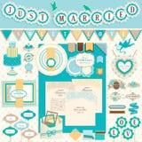 Hochzeit `s Tageseinklebebuchelemente Stockbilder