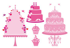 Hochzeit und Geburtstagkuchen, Vektor Stockfoto