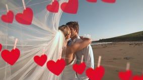 Hochzeit von Paaren auf Strand stock video