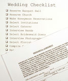 Hochzeits-Checkliste und voreheliche Vereinbarung Stockbilder