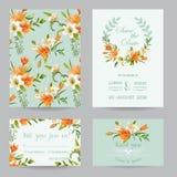 Hochzeits-Einladung eingestellt - Autumn Lily Floral vektor abbildung