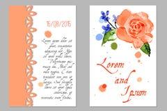 Hochzeits-Einladung mit Blume stieg Lizenzfreies Stockbild