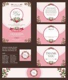 Hochzeits-Einladung, mit Blumensträußen und Kranzdesign vektor abbildung