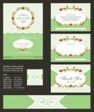 Hochzeits-Einladung, mit Blumensträußen und Kranzdesign lizenzfreie abbildung
