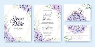 Hochzeits-Einladung, sparen das Datum, danke, rsvp Karte Designschablone Vektor Hortensieblumen, olivgrüne Blätter Abbildung in d lizenzfreie abbildung