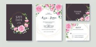 Hochzeits-Einladung, sparen das Datum, danke, rsvp Karte Designschablone Vektor Sommerblume, rosa Rose, silberner Dollar, Wachs vektor abbildung