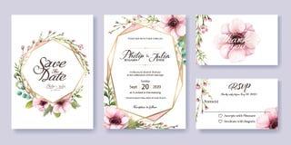Hochzeits-Einladung, sparen das Datum, danke, rsvp Kartenschablone lizenzfreie abbildung