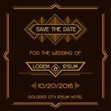 Hochzeits-Einladungs-Karte - Art Deco Style Lizenzfreie Stockfotografie