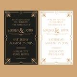 Hochzeits-Einladungs-Karte - Art Deco Vintage Style Stockfoto