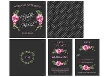 Hochzeits-Einladungs-Karten-Einladung mit Aquarellblumen stock abbildung