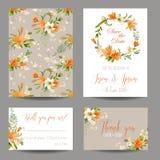 Hochzeits-Einladungs-oder Glückwunsch-Karten-Satz lizenzfreie abbildung