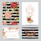 Hochzeits-Einladungs-oder Glückwunsch-Karten-Satz - Blumen-Stiefmütterchen lizenzfreie abbildung