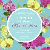 Hochzeits-Einladungs-Plan-Schablone mit Orchideen-Blumen Speichern Sie die Datums-Blumenkarte mit exotischen Blumen für Partei Stockfotografie