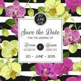 Hochzeits-Einladungs-Plan-Schablone mit Orchideen-Blumen Speichern Sie die Datums-Blumenkarte mit exotischen Blumen für Partei Stockbilder