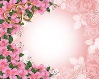 Hochzeits-Einladungs-Rand-Rosa-Azaleen lizenzfreie abbildung