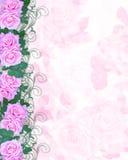 Hochzeits-Einladungs-Rosa-Rosen Stockfoto
