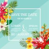 Hochzeits-Einladungs-Schablone mit Blumen und Palmblättern Tropische Blumenabwehr die Datums-Karte Exotisches Blumen-Design Stockbilder