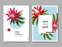 Hochzeits-Einladungs-Schablone mit Blumen und Palmblättern Tropische Blumenabwehr die Datums-Karte Exotisches Blumen-Design Lizenzfreies Stockfoto
