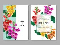 Hochzeits-Einladungs-Schablone mit Blumen und Palmblättern Tropische Blumenabwehr die Datums-Karte Exotisches Blumen-Design Lizenzfreie Stockfotografie