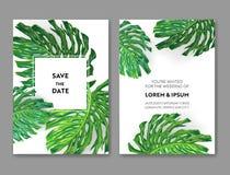 Hochzeits-Einladungs-Schablone mit Monstera-Palmblättern Tropische Abwehr die Datums-Karte Sommer-botanisches Design für Plakat Lizenzfreie Stockbilder