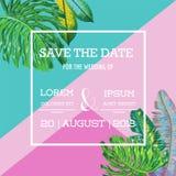 Hochzeits-Einladungs-Schablone mit Palmblättern Tropische Abwehr die Datums-Karte Sommer-botanisches Design für Plakat, Grüße stock abbildung