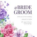 Hochzeits-Einladungskarte mit Blumen in der Aquarellart auf weißem Hintergrund Schablone für Grußkarte Stockfoto