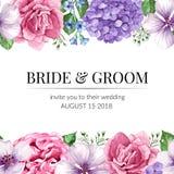 Hochzeits-Einladungskarte mit nahtloser Blumengrenze in der Aquarellart auf weißem Hintergrund Schablone für Grußkarte Stockfotografie