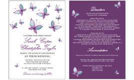 Hochzeits-Einladungskarte mit Schmetterling Stockfoto