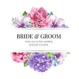 Hochzeits-Einladungskartendesign mit Blumen in der Aquarellart auf weißem Hintergrund Stockbilder