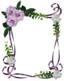 Hochzeits-Einladungsrand Lavendel-Rosen stock abbildung